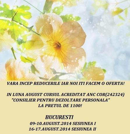 Curs autorizat: CONSILIER PENTRU DEZVOLTARE PERSONALA, 9-17 august 2014