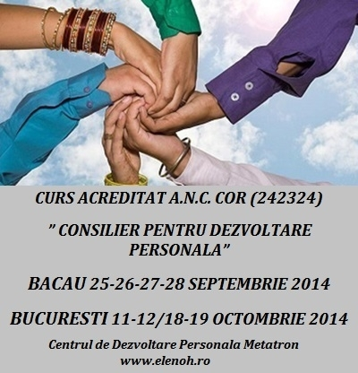 Curs autorizat: CONSILIER PENTRU DEZVOLTARE PERSONALA, Bacau (din 25 septembrie) si Bucuresti  (din 11 octombrie)