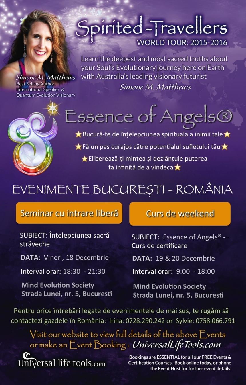 Essence of Angels® Practitioner. Cu Simone Mathews, 19-20 decembrie 2015, Bucuresti