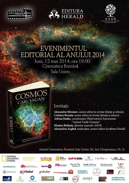 Evenimentul editorial al anului 2014, la Editura Herald: COSMOS, de Carl Segan. 12 mai 2014