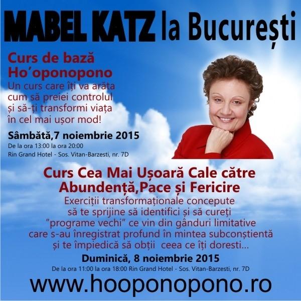 Mabel Katz la Bucuresti, 7-8 noiembrie 2015