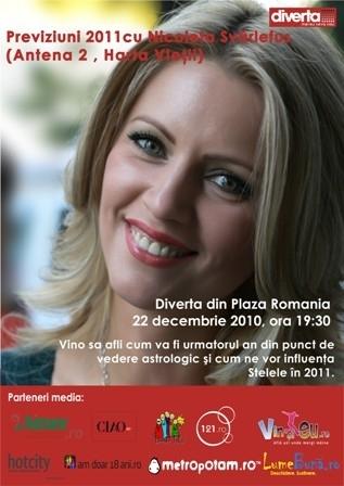 Previziuni astrologice 2011! Miercuri, 22 decembrie, la Diverta Plaza!