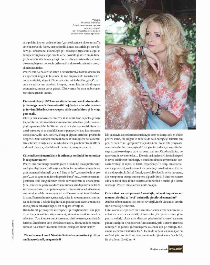 Spirit si... spiritualitate in afaceri. Interviu acordat de Nicoleta Svârlefus, pentru revista Intelligent Life